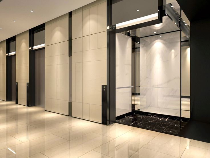 Commercial Office Typical Lobby Interior Design View 01 With Stone