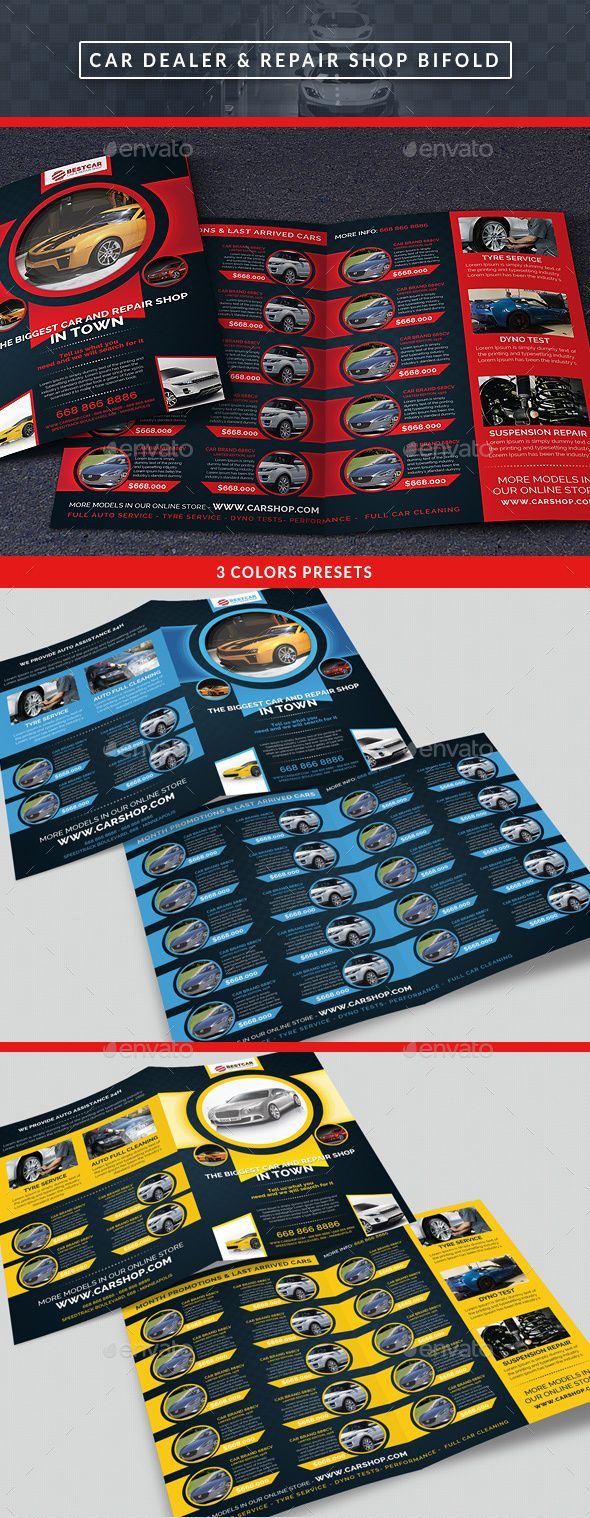 Car Dealer & Auto Services Bifold Brochure — Photoshop PSD #auto services #flyer • Available here → https://graphicriver.net/item/car-dealer-auto-services-bifold-brochure/14250772?ref=pxcr