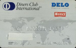 Diners Club International - DELO (Diners Club SLO, Slovenia) Col:SI-DC-0002