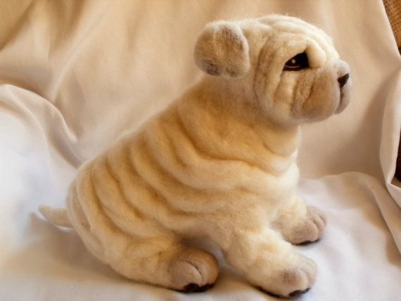 Needle Felted Dog Shar Pei Puppy Dog Sculpture  by LaCharmour, $135.00