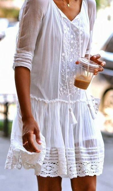 Summer sundresses: white embroidered shift