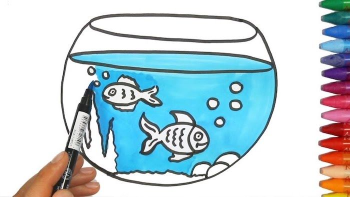 Coloring Page Of Aquarium With Two Fish Inside Cute Cool Drawings Crayons On The Side Fish Tank Drawing Easy Drawings Easy Drawings For Kids