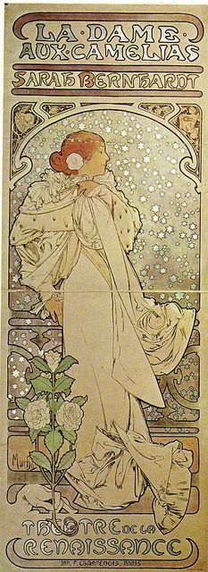 Sarah Bernhardt dans La Dame aux camélias – Alfons Mucha (1896) by Yvette Gauthier, via Flickr