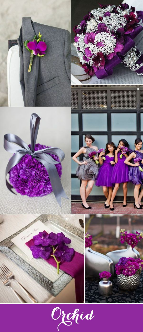radiant orchid and grey wedding color ideas