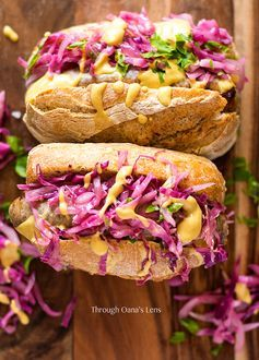 German Bratwurst hot dog with red cabbage sauerkraut | Adore Foods www.adorefoods.com