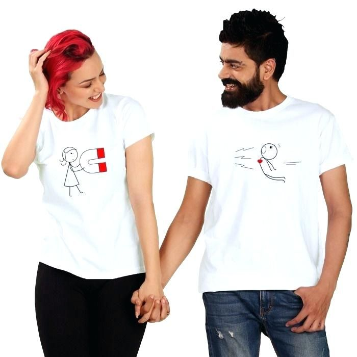 7ac48c7a8d couples tee shirts love magnet couple t shirt full sleeves online ...