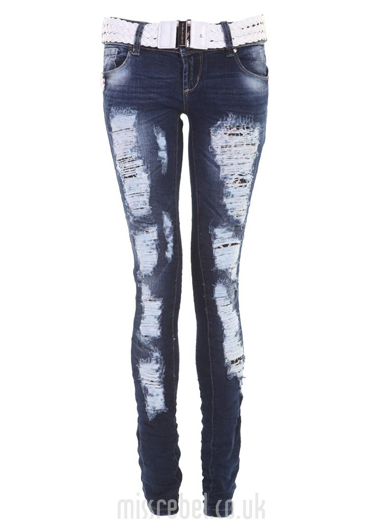 Allover Rip White Belt Skinny Jean - Womens Clothes, Ladies Clothes, Womens Fashion, Cheap Clothes Online | Miss Rebel