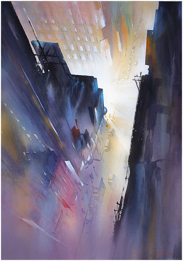 Night in the City by Thomas W. Schaller Watercolor ~ 30 Inches x 22 Inches