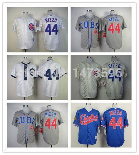 Мужчины чикаго кабс джерси 44 энтони риццо аутентичные возврат вышивка сшитые бейсбол рубашка спорт платье