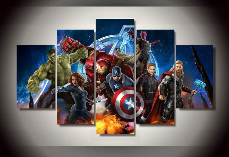 Avengers Animation 5 Piece Picture Painting Wall Art Room