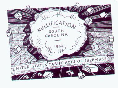 This is a political cartoon that shows nullification in SC. To nullify means to refuse to obey. South Carolina did not like the tariffs that the North created, because it caused the South to lose money.