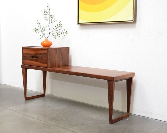 Danish Modern Kai Kristiansen Aksel Kjersgaard Rosewood Entry Chest Bench Table Modernmidcentury