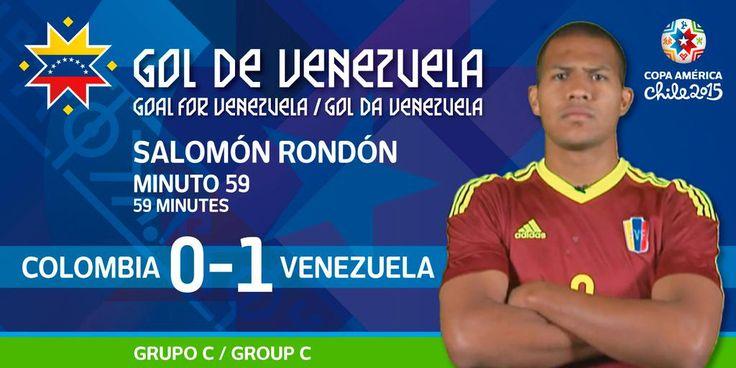 Apareció Rondón para abrir el marcador en Rancagua. #Ven supera a #Col.