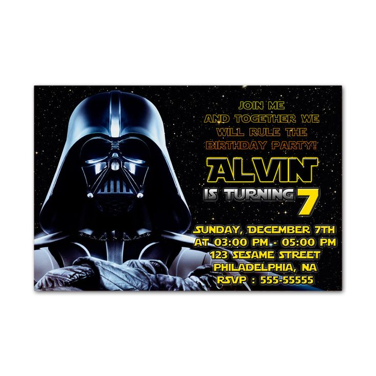 Star Wars Dart Vader Kids Birthday Invitation Party Design
