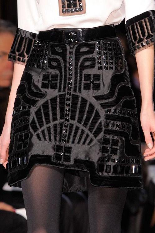 Art Deco Skirt - black on black pattern; closeup fashion detail // Andrew Gn