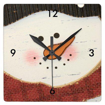 #Rustic snowman square wall clock - #Xmas #ChristmasEve Christmas Eve #Christmas #merry #xmas #family #kids #gifts #holidays #Santa