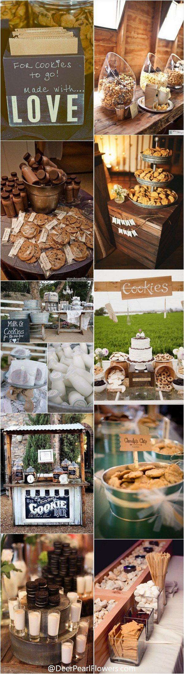 Rustic country wedding food ideas - Milk and cookies for wedding /  / http://www.deerpearlflowers.com/wedding-smore-cookies-milk-bar-ideas/