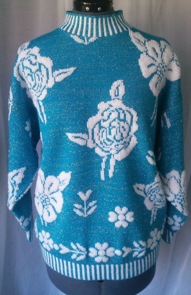c2d3f3c1c7 Vintage Blue   White Floral Knit Sweater with Striped Cuffs and Neck   fashion  clothing  shoes  accessories  vintage  womensvintageclothing  (ebay link)