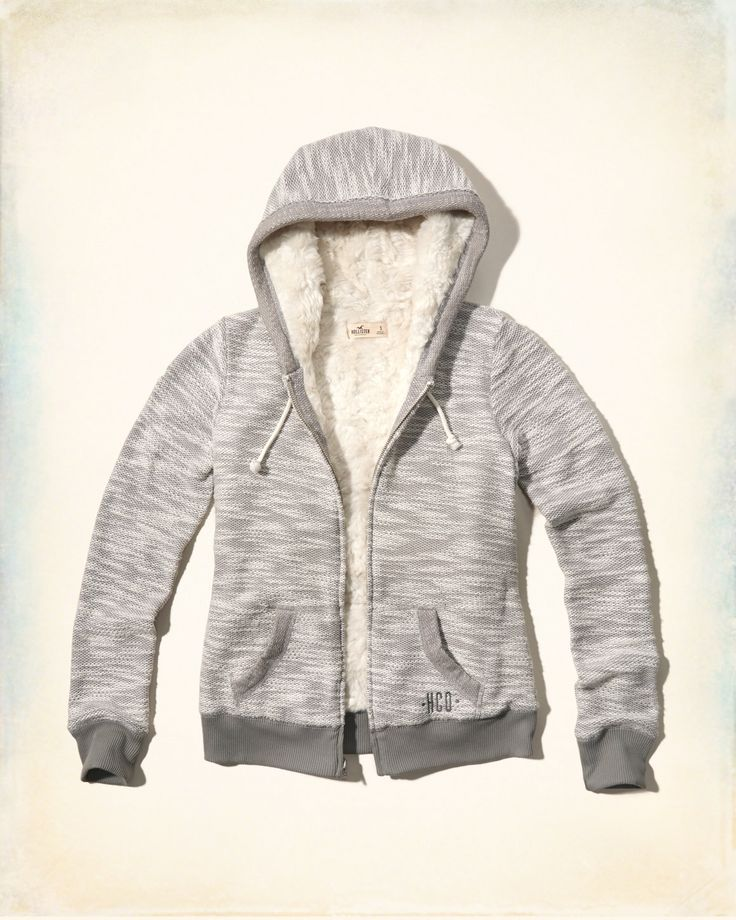 Girls Textured Faux Fur Lined Hoodie | Girls Tops | HollisterCo.com