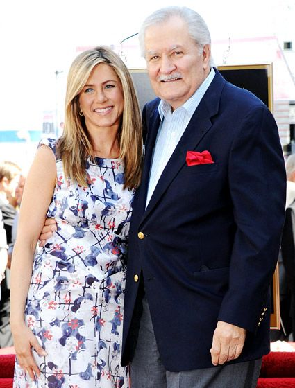 "Jennifer Aniston  her dad, John Aniston aka Victor Kirriakis from ""Days of Our Lives"""