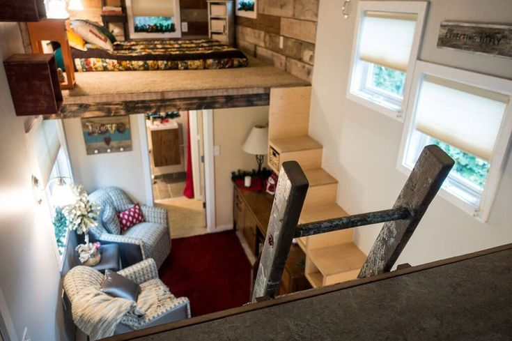 A rustic tiny house on wheels built by its owner in Sherwood, Oregon.