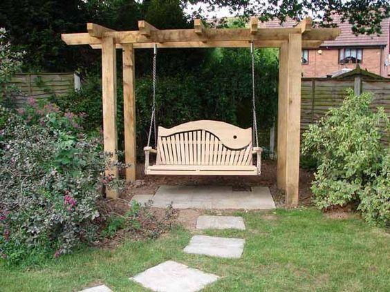 modele de balansoare de gradina Wooden garden swing ideas 4