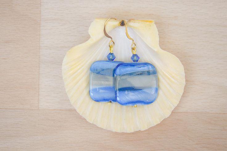 Square Seashell Earrings - Ombre Earrings - Sea Shell Jewelry - Blue-Gray Earrings - Natural Jewelry - Dangle Earrings by SkadiJewelry on Etsy