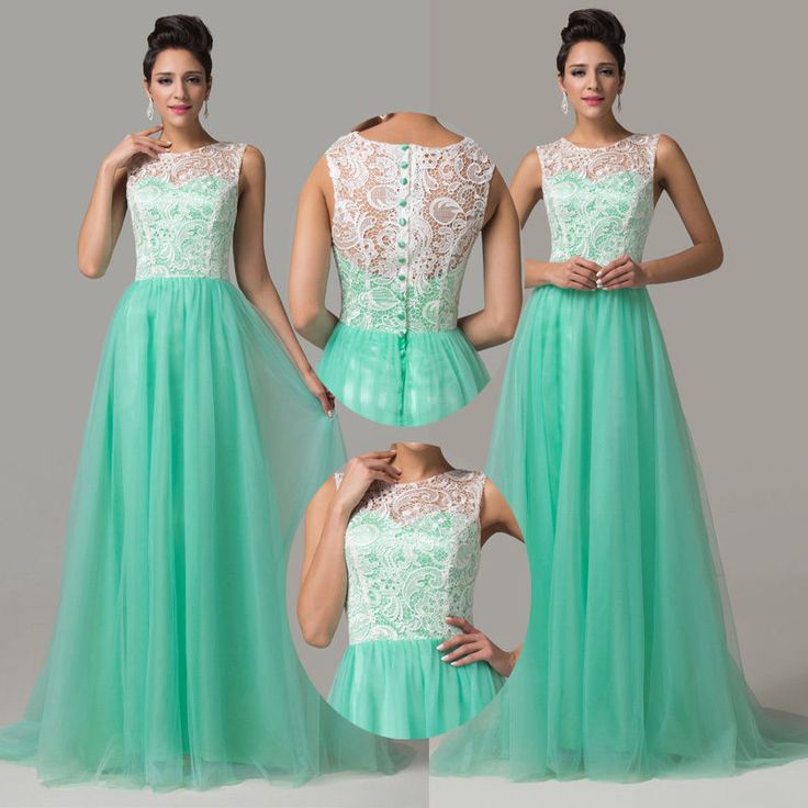 2014 Sleeveless Women Long Formal Lace Cocktail Bridesmaid Evening Prom Dresses #GraceKarin #BallGown #Clubwear