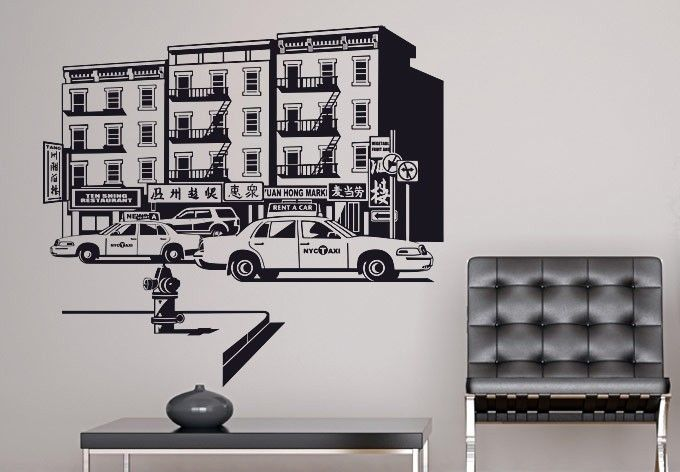 New York Chinatown Wall Sticker. Bring in the New York cosmopolitan feel with the fusion of Chinese elements symbolized by the busy Chinatown area into your homes by using these wall decals & stickers that give a monochromatic representation of New York's Chinatown area. http://walliv.com/new-york-chinatown-wall-sticker-wall-art-decal