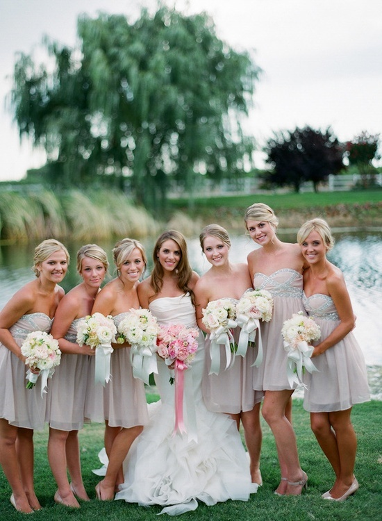 blush and sparkly bridesmaids dresses.
