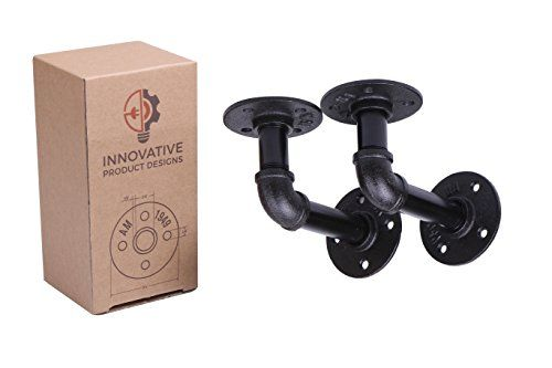 """3.25"""" x 5"""" Industrial Black Iron Pipe Shelf Brackets (2 count) 