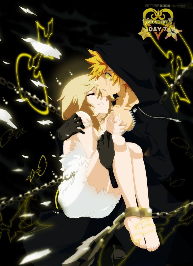 Kingdom Hearts. Roxas & Namine. Very cool piece. I love the chains.