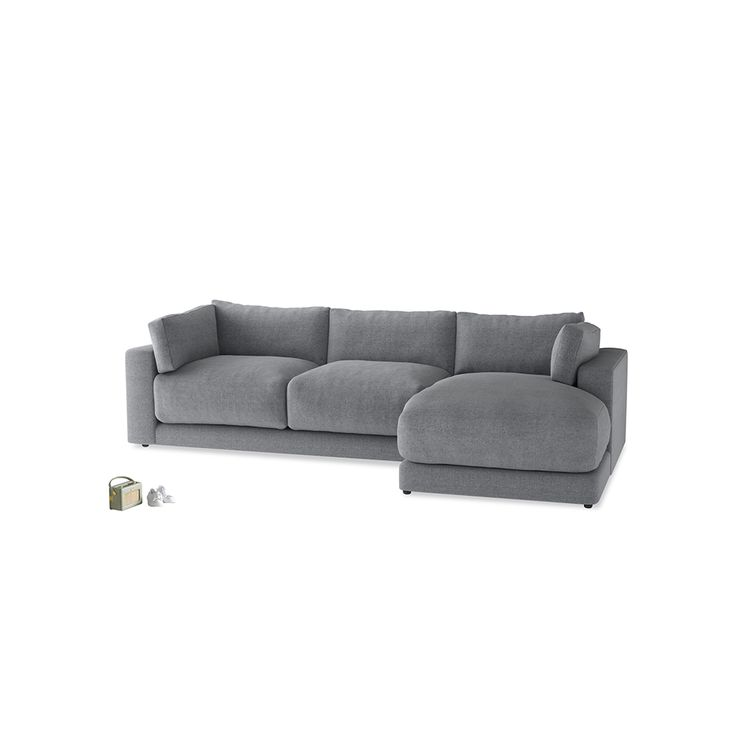 Large Right Hand Atticus Chaise Sofa in Summer Rain Textured Cotton
