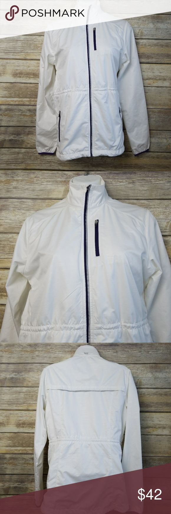 """Lucy White Purple Lined Running Vented Windbreaker Lucy White Purple Lined Womens Running Exercise Vented Windbreaker Jacket Small No rips, stains, smoke free home.  Pit to pit: 19"""" Shoulder to hem: 25"""" Lucy Jackets & Coats"""