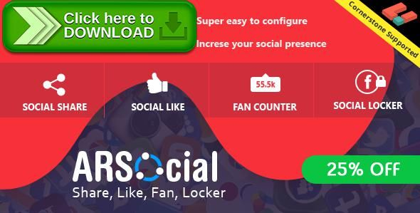 [ThemeForest]Free nulled download ARSocial - Social Share Buttons & Social Locker Plugin from http://zippyfile.download/f.php?id=38544 Tags: ecommerce, easy social share, facebook, fan counter, like, like button, locker, share, share buttons, social, social content locker, social locker, social network, social share, social share plugin, social sharing