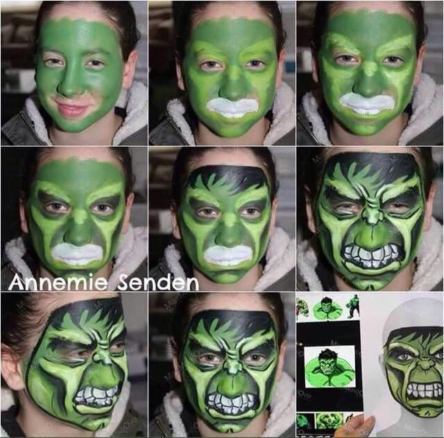 step by step hulk a face paint monsters pinterest. Black Bedroom Furniture Sets. Home Design Ideas