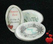 60g fully personalized wedding favours (soap) Different packaging options available. Customization can be full colour text and / or graphics.