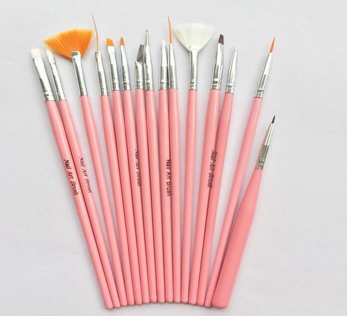 Nail Art Brushes Set 15pcs White Decorations Gel Painting Pen Nail Brush Professional Nail Equipment Drawing Tool