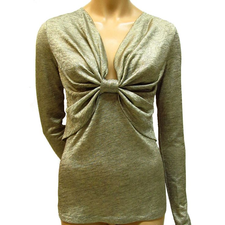 Women's top/ Twist top/Twisted silver top/Elegant top/ Spotted top/Silver metalic/Top in handmade /Long sleeves top/Beige-silver metalic top by SkitaDesign on Etsy