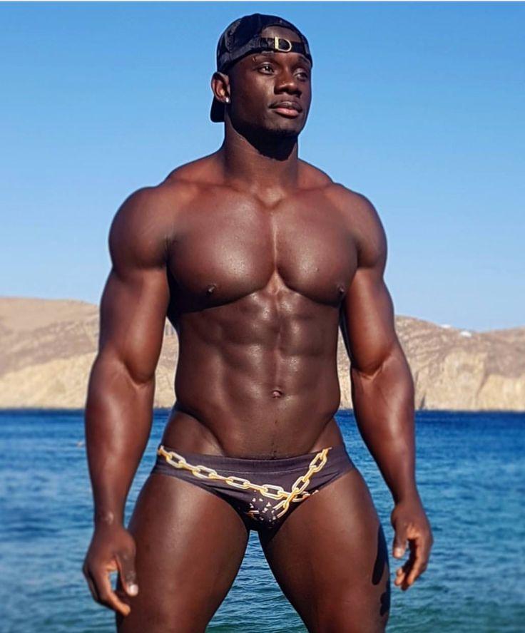 Attractive handsome black male model underwear bulge ...
