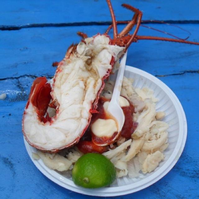 Fresh delicious lobster at Islas del Rosario. Cartagena, Colombia.