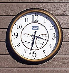 24″ Large Outdoor Wall Clock Waterproof with Temperature and Humidity – Bronze