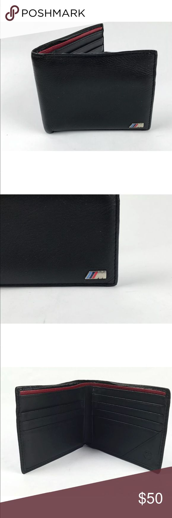 BMW black leather men's billfold wallet BMW Black Wallet Bifold leather wallet 8 card slots, 2 bill slots Good, pre-owned condition  100% authentic. BMW Bags Wallets