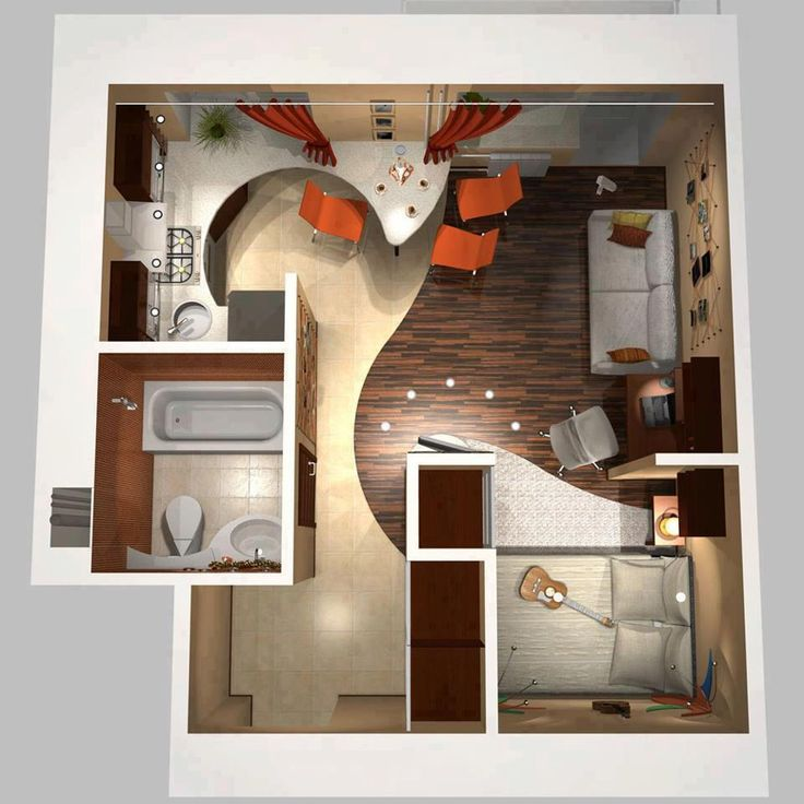 It's really amazing how much use one can make out of small living spaces, this apartment design is only 25 square meters (less than 250 square feet).