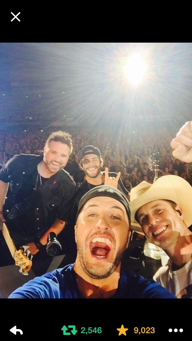 Thomas Rhett, Dustin Lynch, Randy Houser, Luke Bryan picture from Nashville Tn. Via Luke Bryan's Twitter