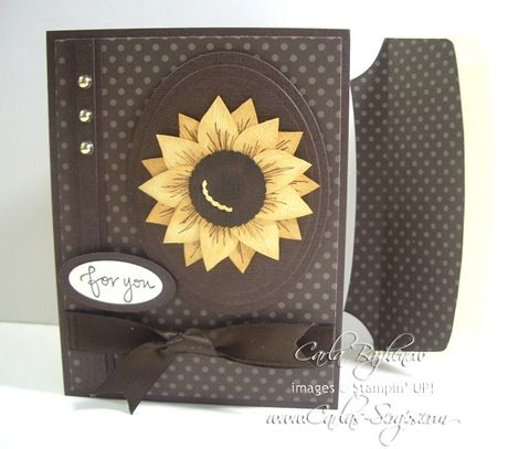 sunflower on black made from Stampin' Up bird punch...with Tutorial