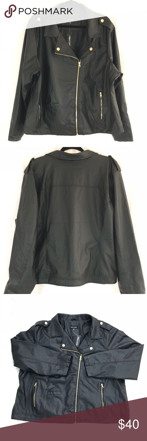 A48 - New Look Black Faux Leather Jacket 3X New Look Black Faux Leather Jacket 3X Gold hardware  Armpit to armpit laying flat - 27 inch Collar to bottom length - 28 inch New Look Jackets & Coats