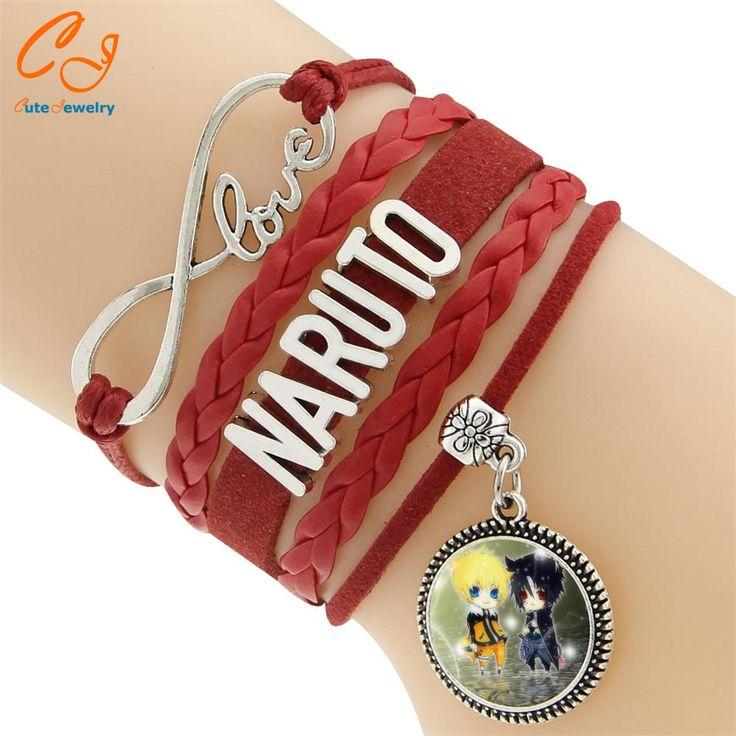 Vintage Braided Naruto Love best friends Rope charm Bracelets for women heart Leather Bracelet men jewelry