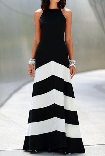 Vestido de Algodón Largo Sin Mangas de Rayas Blanco y Negro, $555.64