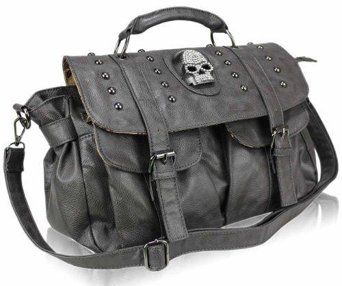 "Grey Diamante Skull Satchel Crossbody Studded Buckle Punk Emo Gothic Shoulder Designer Handbag (14"" x 10"") with PreciousBags Dust Bag Preciousbags,http://www.amazon.com/dp/B00AW18D2O/ref=cm_sw_r_pi_dp_vpeqsb1DYCGCBQJN"